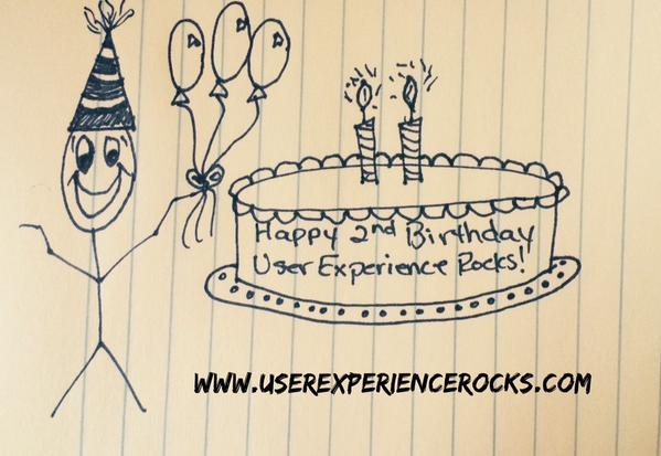 User Experience Rocks Turns 2. Stick figure holding balloons and a birthday cake.