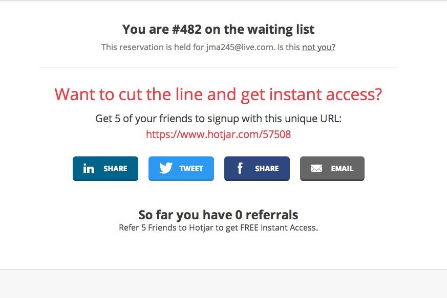 Hotjar's queue page